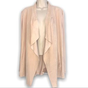 Chicos Faux Suede Waterfall Cardigan